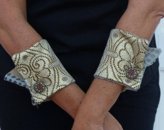 unique fabric gift, alternative jewellry wrist cuffs gold accessories