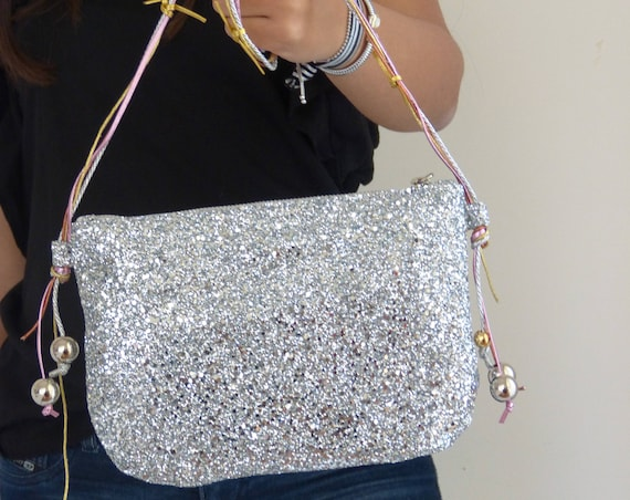 silver glitter glam crossbody evening sparkly handbag clutch