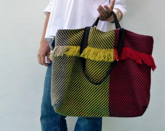 extra large Summer shoulder bag,  fringe striped purse
