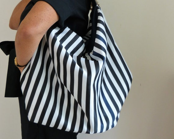 Striped handbag leather and fabric purse,  slouchy hobo bag