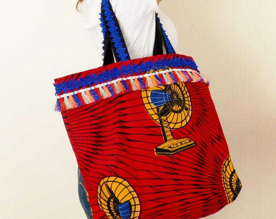 handmade cotton handbags African print fabric embellished bag