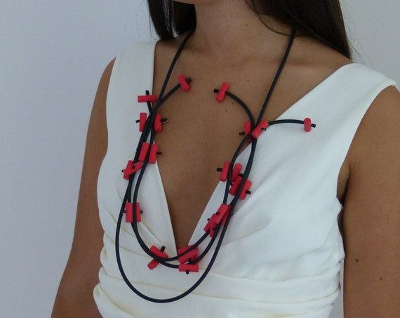 Black and red multi strand bauble statement necklace