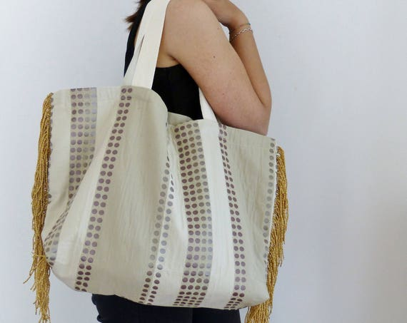 summer beach bag, oversized purse, gold fringe tote fabric boho handbag