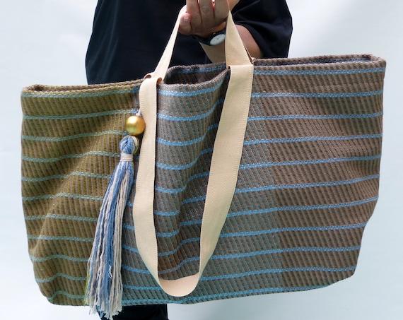 handmade boho beach bag, oversized tassel tote