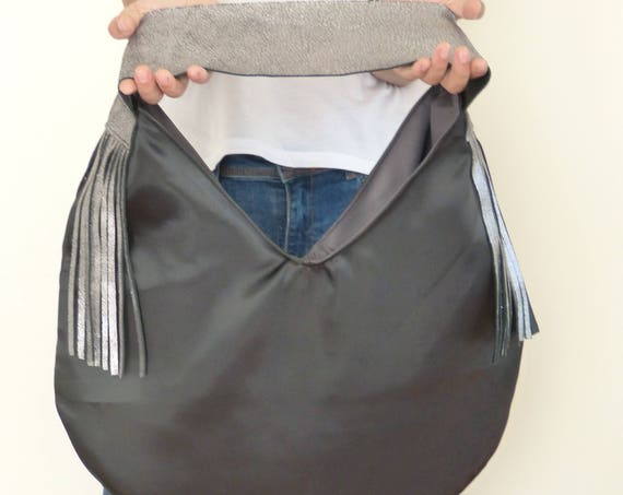big woman handbag black slouchy purse, silver leather fringe, bohemian hobo bag