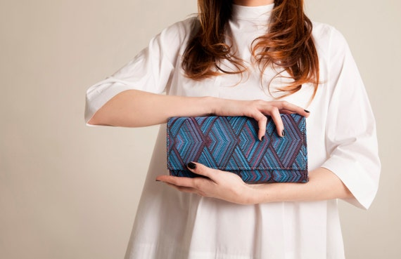 Minimalist clutch blue jeans casual evening purse geometric pattern