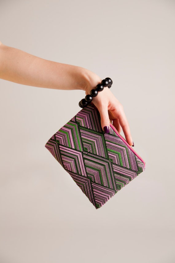 bracelet clutch bag, minimal design wristlet pattern, vegan personalized purse