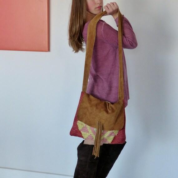 tribal bag Crossbody, ethnic Carpet bag, tassel leather bag