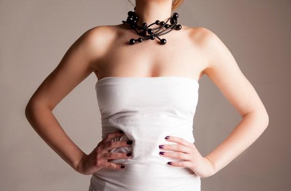 black Statement necklace,modern minimal, gold multi-strand rubber jewelry