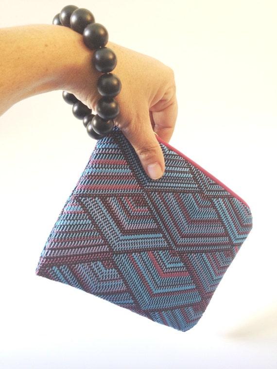 small vegan handbag, blue vegan clucth, blue wristlet purse, minimal mini bag