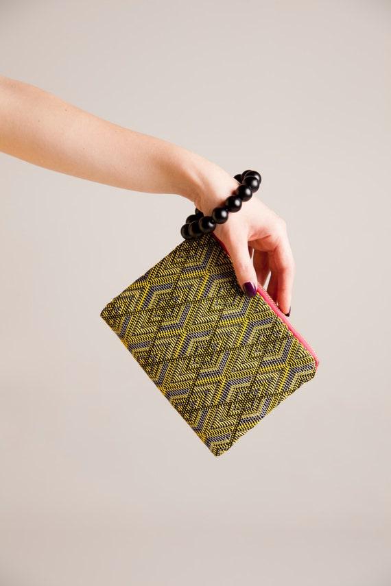 vegan evening bag, non leather bag, Minimalist yellow wristlet