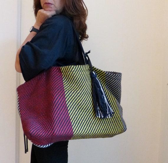 extra large striped beach tote, tassel handbag.