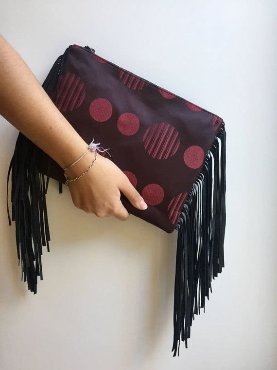 polka dot handbag, black leather fringe purse red Clutch gift for her