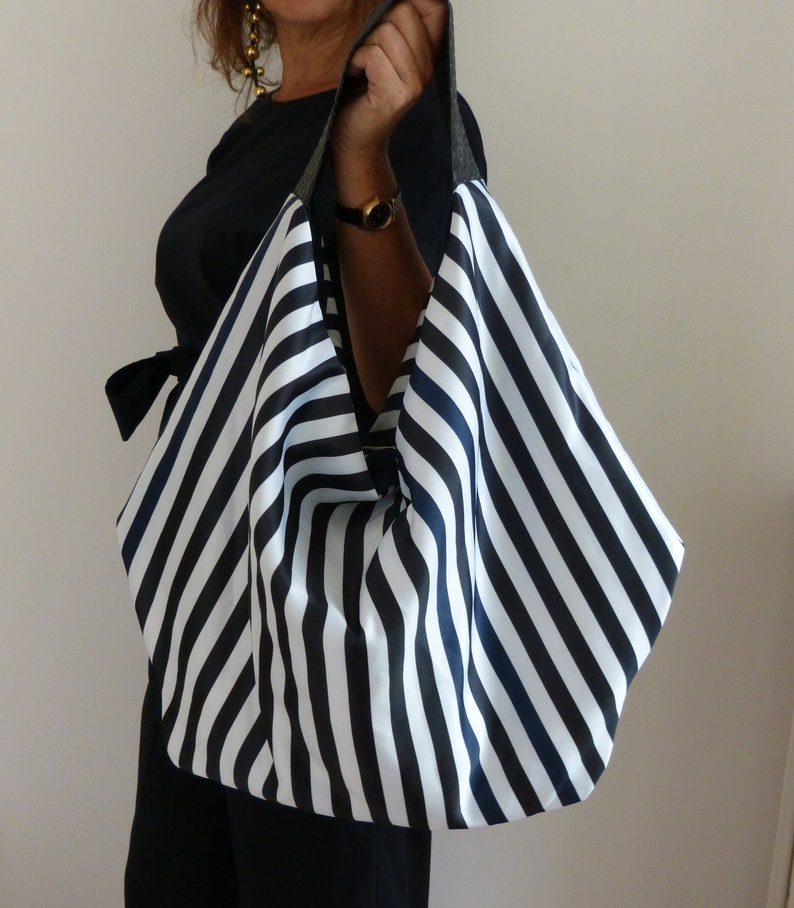 2bb2e6ced7 Black blue white fabric and leather slouchy hobo bag striped | Etsy