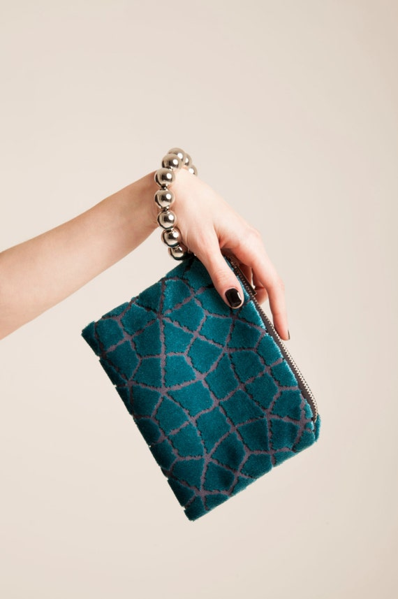 Teal wristlet clutch purse pattern, velvet zipper pouch.