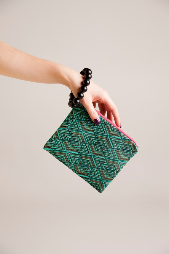 Minimalist clutch,  night and day zipper clutch, small turquoise bag.