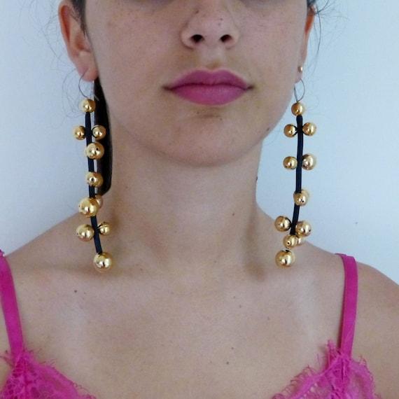 Black and gold pearl dangle earrings long linear, cascade minimalist jewellry