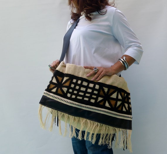 Bohemian style handbag, leather fringe crossbody, African print fabric