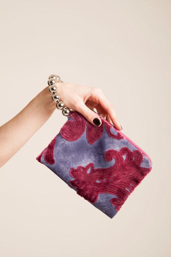 small handbag, fabric purse pattern Bracelet Clutch  zipper pouch vegan fashion