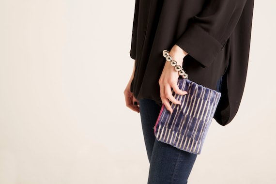 geometric clutch fabric zipper bag women's Wristlet silver purse