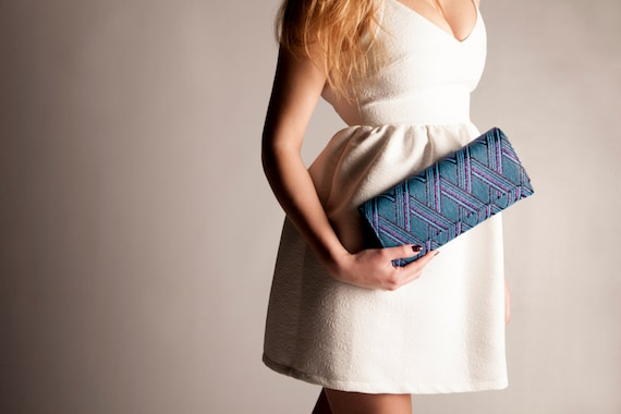 Blue leather and Magenta Metallic Clutch bag, current modern purse