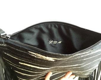 personalized clutch, gift for her, initials hand stitch, handmade custumized handbag