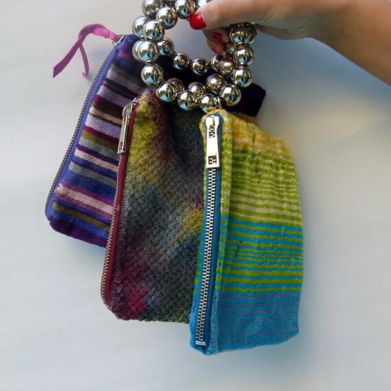 SET of 3 velvet Wristlet, wrist purse, bracelet clutch, slouchy clutch