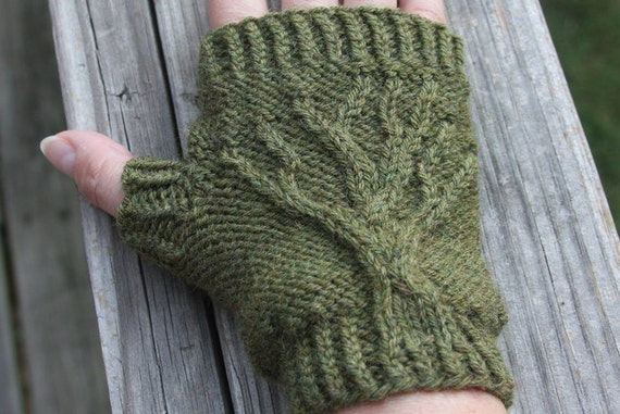 Tree Of Life Fingerless Gloves Knit Pattern Pdf Etsy