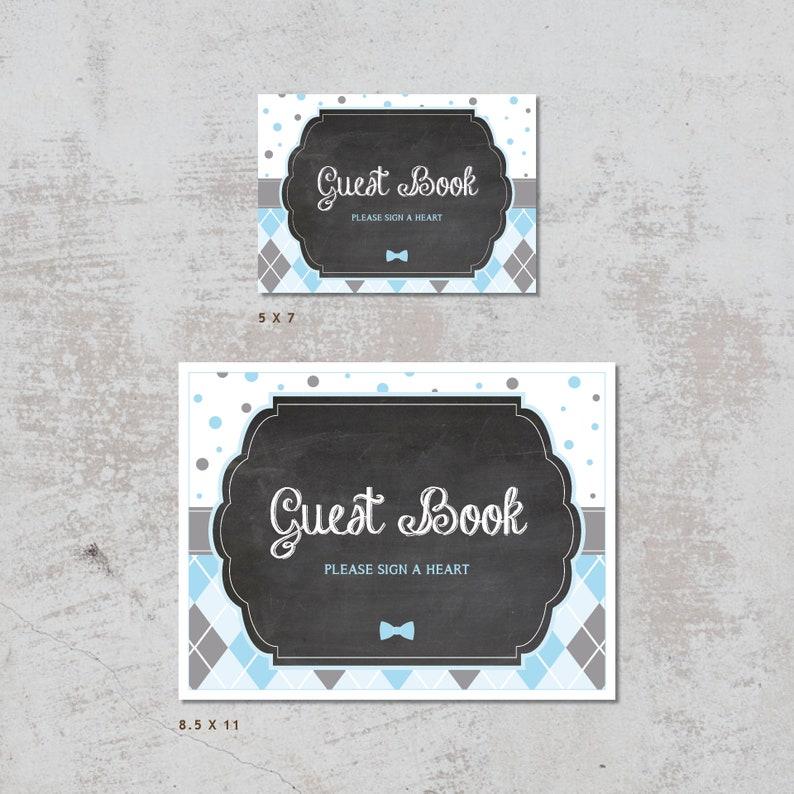 Dots Blue Argyle Chalkboard \u2014 Instant Download Little Gentleman Baby Shower Guest Book Heart Of Hearts Gray