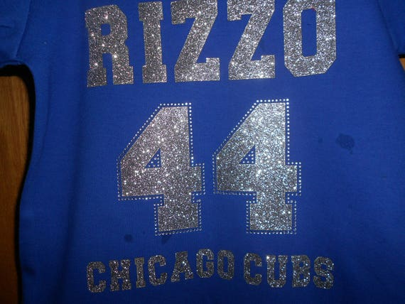 Rizzo 44 Chicago Cubs  Glitter and Rhinestone Transfer