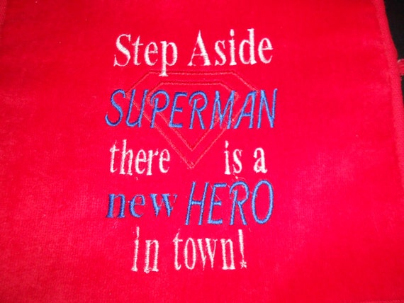 Over the head Red Step aside Superman Embroidered Bib