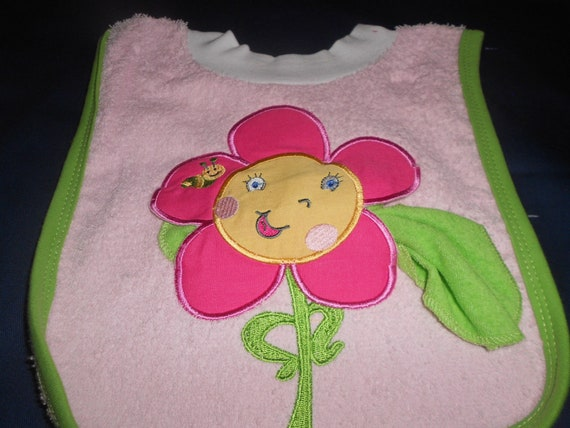 Flower with Washcloth, over the head bib