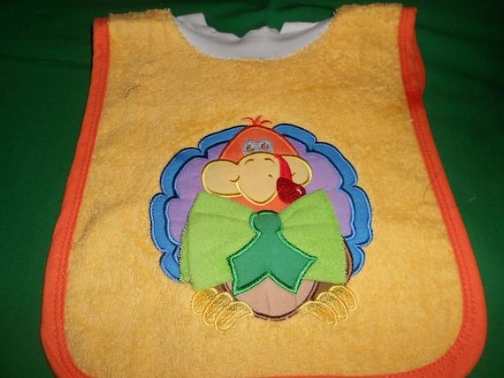 Turkey with Washcloth, over the head bib