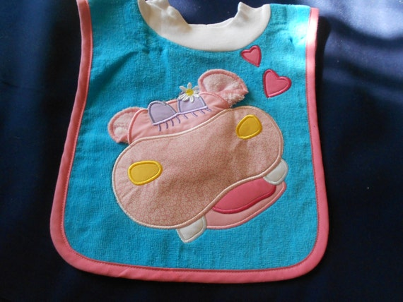 Hippo with Washcloth, over the head bib