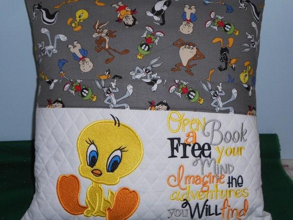 Tweety Bird  Reading Pocket Pillow