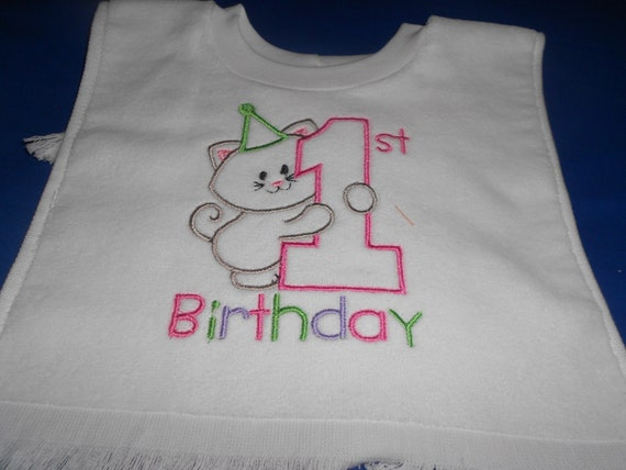 Kitty 1st Birthday over the head bib
