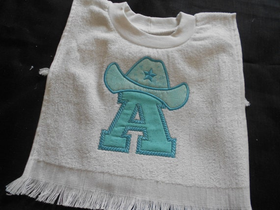 Initial or Number with Cowboy Hat  over the head bib