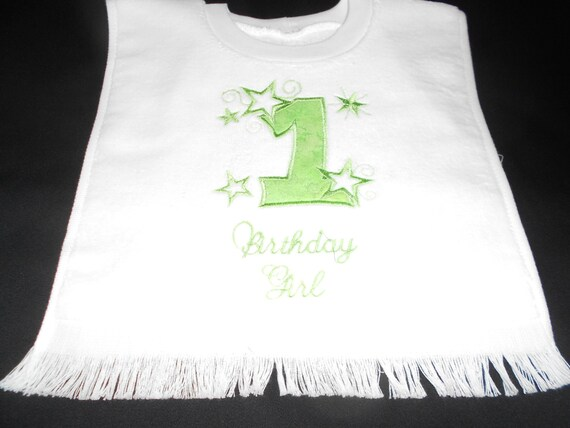 Over the head Birthday Girl with Stars Embroidered Bib