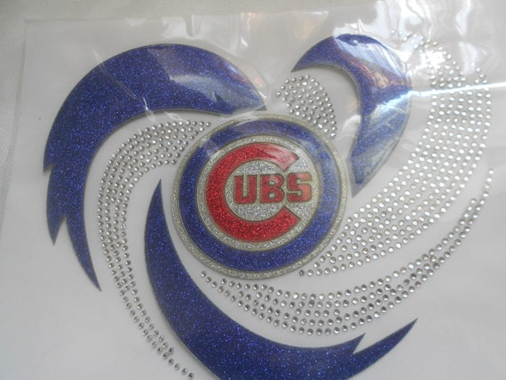 Chicago Cubs  Glitter and Rhinestone Transfer