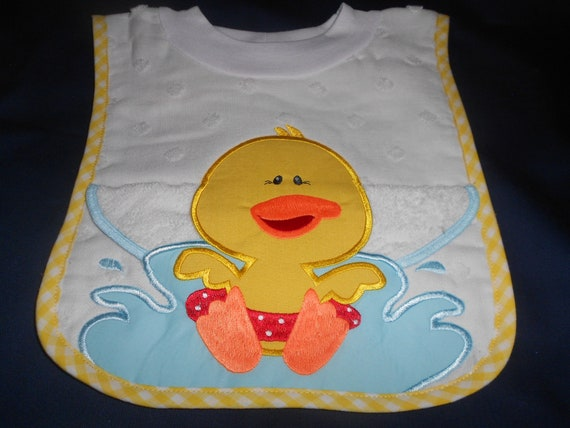 Duck with Washcloth, over the head bib