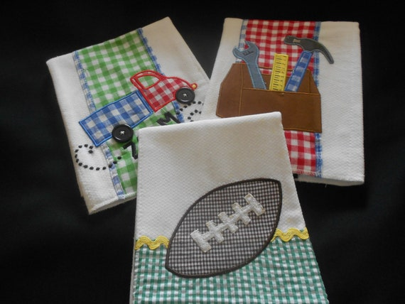 Set of 3 Boys Burp Cloths