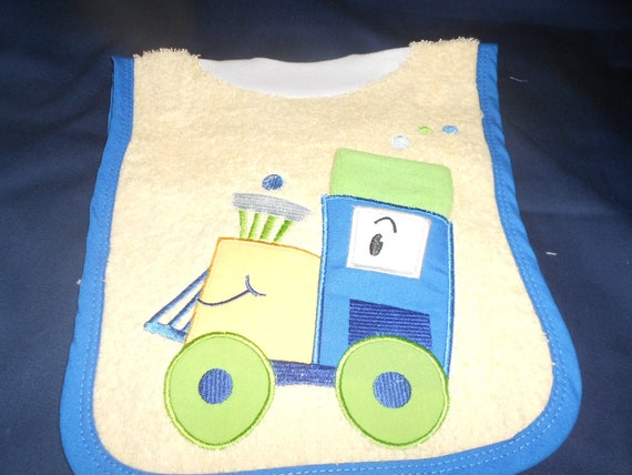 Train with Washcloth, over the head bib