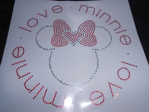 Love Minnie  Rhinestone Transfer