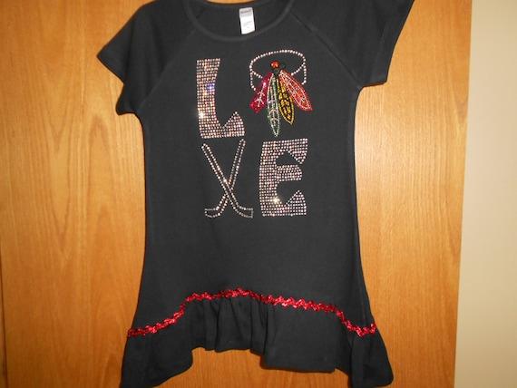 Rhinestone Chicago Blackhawks t Shirt