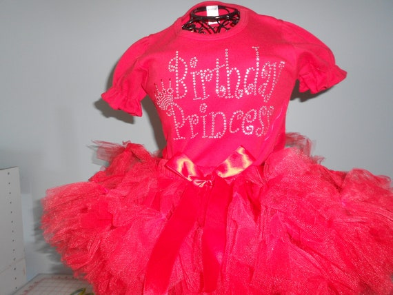 SALE 2 piece outfit TuTu and Brithday Princess Onesie In Red 18-24 months only