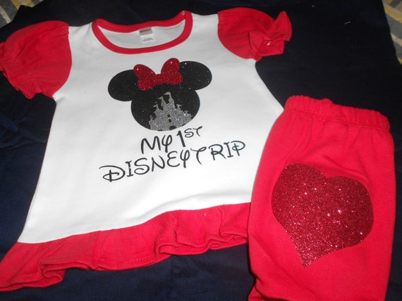 My First Disney Trip  2 pc  Red and White outfit