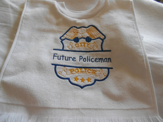 Over the head Police Badge  Embroidered Bib