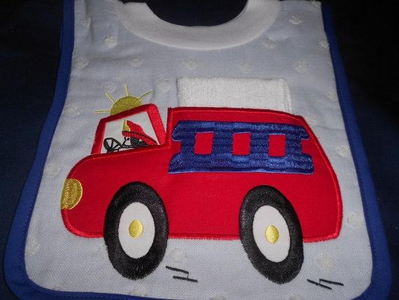 Firetruck  with Washcloth, over the head bib