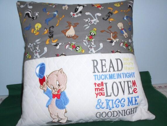 Porky Pig Reading Pocket Pillow