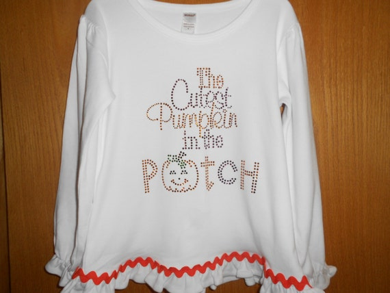 Fall Rhinestone Cutest Pumpkin in the patch T Shirt
